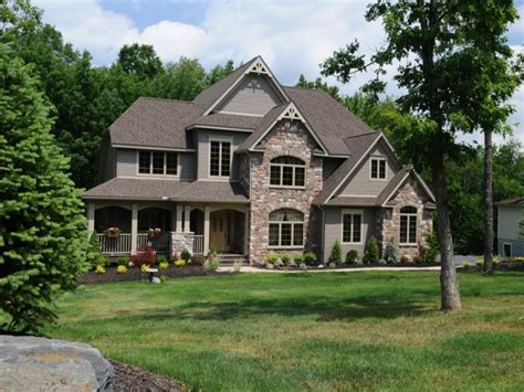 stone brick home design using stone home exterior designs