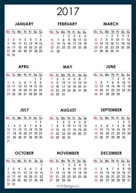 Printable Calendar 2017 A4 Size | new york web design studio new york ny 2017 calendar