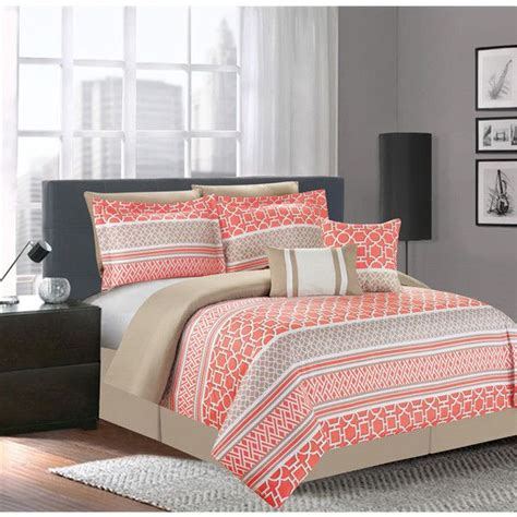 coral and white bedding central park coral 7 piece comforter set 80 liked on