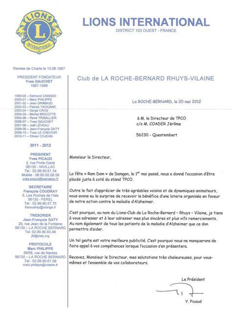 Exemple De Lettre De Remerciement Pour Un Sponsor Les Remerciements Du Lions Club International Tpco Textile Photos 360