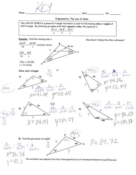 Trigonometry The Of Sines Worksheet Answers by Hw 12 9 14 Math With Ms Roach