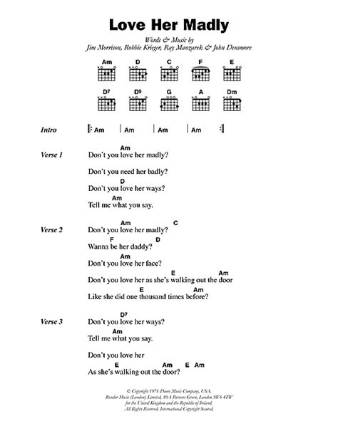Doors Madly Chords madly sheet by the doors lyrics chords