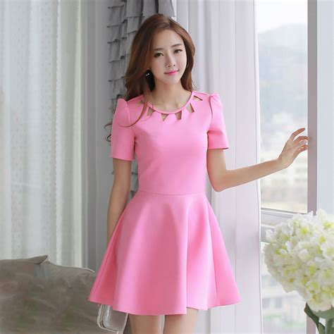 Elegant Hollow Out Short Sleeve Slim Fit Pleated Korean Dress