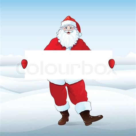 santa claus holding banner white board with blank empty