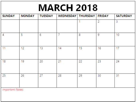 printable calendar with notes 2018 march 2018 calendar with notes printable calendar