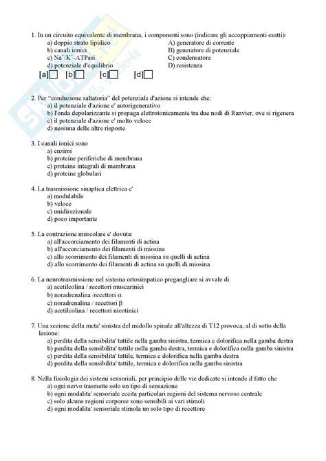 test di fisiologia fisiologia umana i test 5