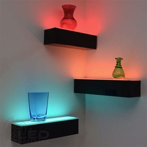 floating shelves with lights 1 tier led floating shelf led lighted floating bar