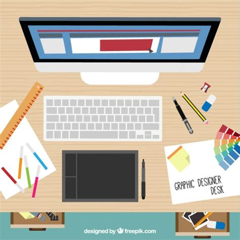 graphic designer desk graphic designer desk in top view vector free