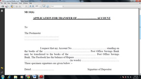 Sbi Account Transfer Letter Format In Word New Form For Address Change In Sbi Bank Account Form