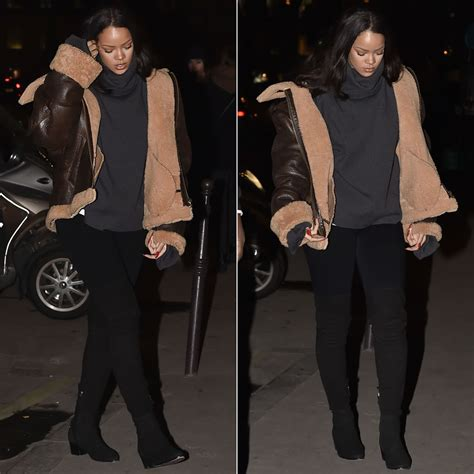 Boxer Coco Fashion rihanna in vetements brown shearing leather jacket haus