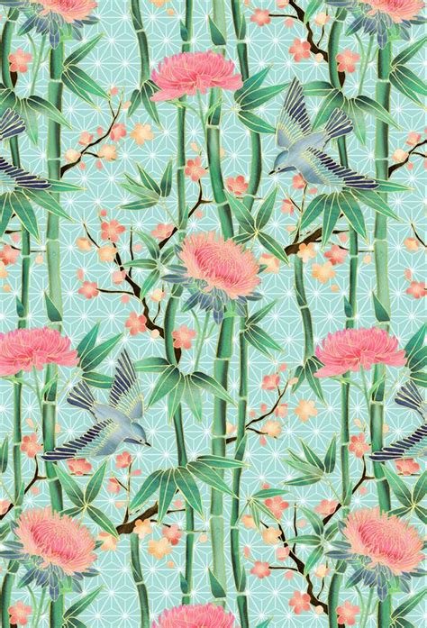 bamboo birds and blossoms on bamboo birds and blossom mint als acrylglasbild juniqe