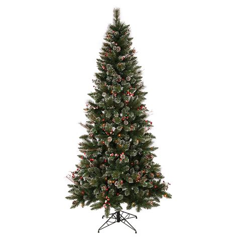 lowes christmas tree lights shop vickerman 7 ft indoor pine pre lit snow tip pine and berry artificial tree