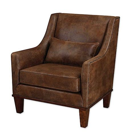 buy leather armchair buy uttermost clay leather armchair in dark brown from bed