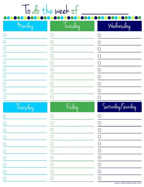 to do list weekly template freebie friday weekly to do list