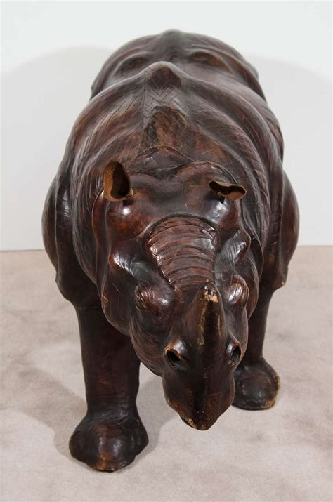 sculpture bench vintage leather rhino sculpture or bench for sale at 1stdibs
