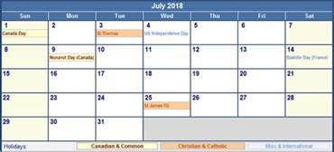 July 2018 Calendar With Holidays July 2018 Calendar With Holidays Calendar Template Excel