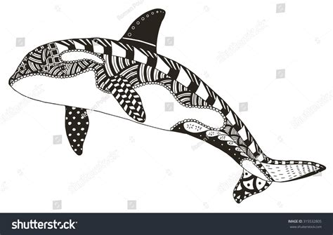 whale pattern drawing killer whale zentangle stylized vector illustration