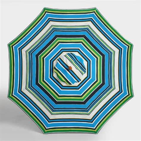striped patio umbrella 9 ft seaside stripe 9 ft umbrella canopy world market