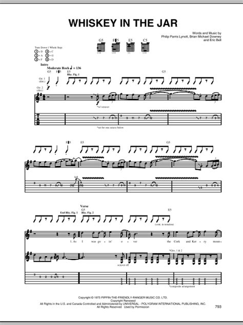 metallica whisky in the jar lyrics whiskey in the jar sheet music direct
