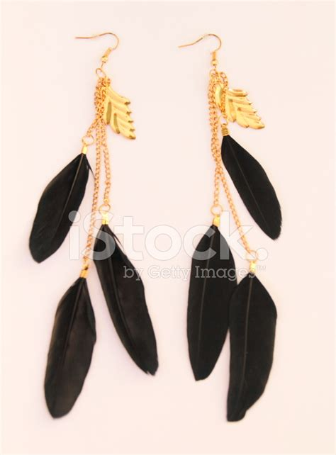 Premium Feather Earring by Black Feather Earring Stock Photos Freeimages