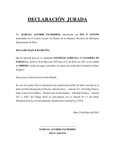 declaracin jurada para proceso de alimentos declaracion jurada laboral7