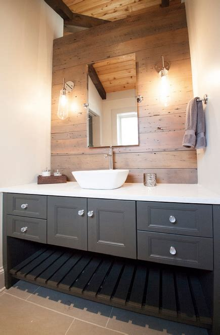 Grey Accent Wall Bathroom gray bathroom vanity reclaimed wood accent wall country