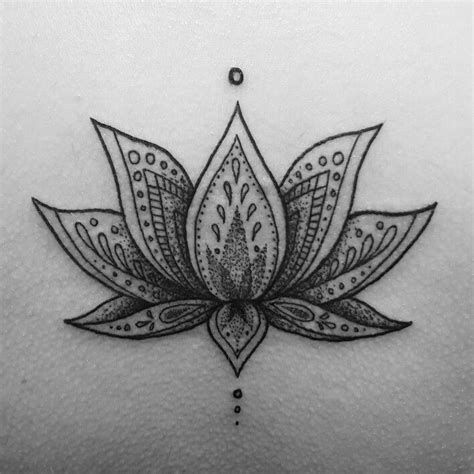 nice mandala lotus flower tattoo idea