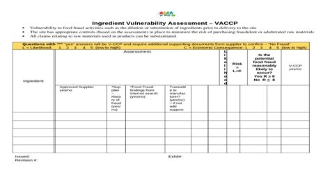 Vaccp Template Food Fraud Vulnerability Vulnerability Risk Assessment Template