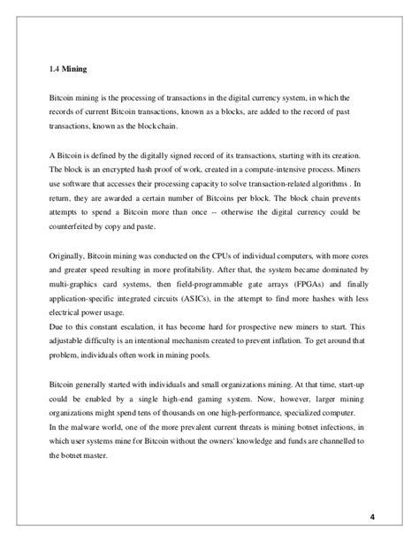 Bitcoin Final Year Seminar Report