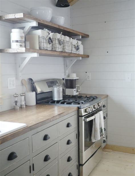white open shelves for our cabin kitchen diy projects