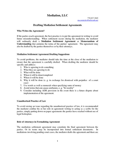 Agreement Letter Sle For Contract settlement agreement template 28 images release