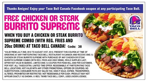 fast food restaurant coupons printable taco bell coupons printable coupons online