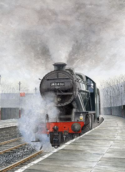 painting trains steam 48431 stanier 8f painting by surrey artist