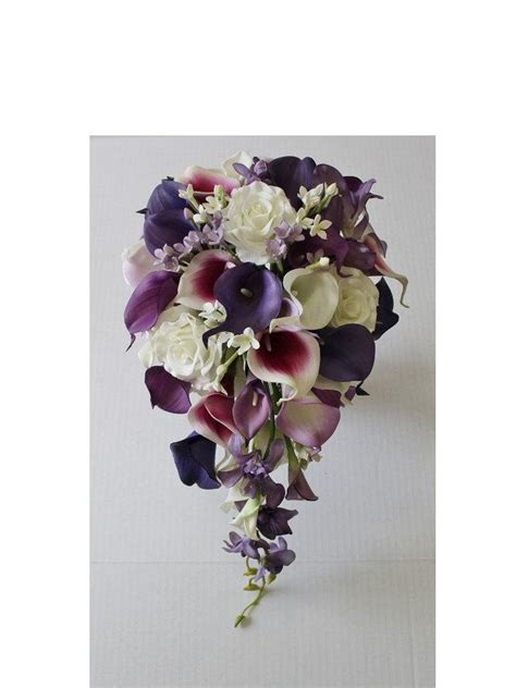 Wedding Bouquet Real Or by Cascade Wedding Calla Bouquet Purple Bouquet Bridal