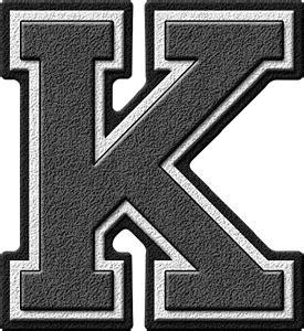 Letter Grey Presentation Alphabets Grey Varsity Letter K