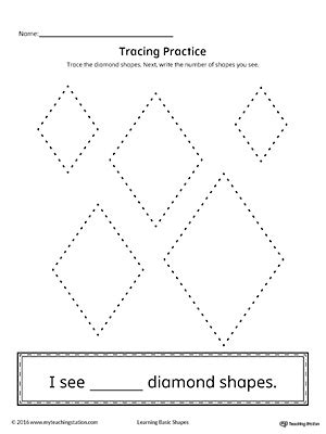 triangle pattern to trace geometric shape counting and tracing diamond