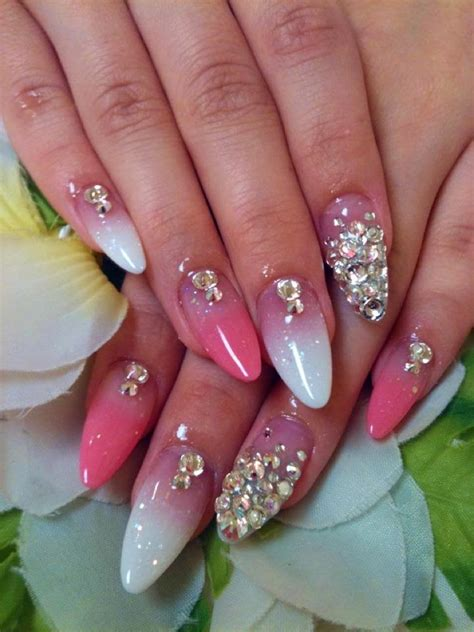 Acrylic Nail Designs by Simple Acrylic Nail Designs With Rhinestones Nail