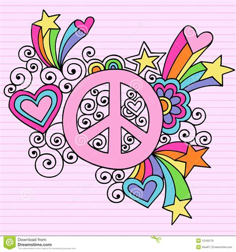 sign and doodle psychedelic peace sign notebook doodle vector stock vector