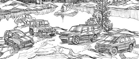 coloring pages jeep grand cherokee jeep liberty wrangler commander and grand cherokee