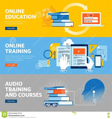 design online training set of flat line design web banners for online education