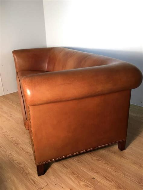 Saddle Leather Sofa Stunning Saddle Leather Rolled Arm Chesterfield Sofa At 1stdibs