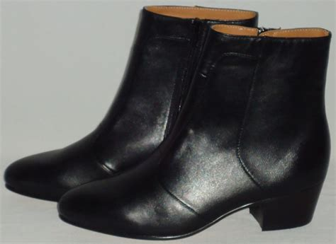 dress boots mens mens black smooth leather ankle boots cuban heel