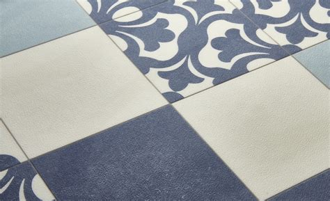 Pvc Carreau De Ciment 4268 by Sol Vinyle Emotion Carreau Ciment Bleu Et Beige Rouleau