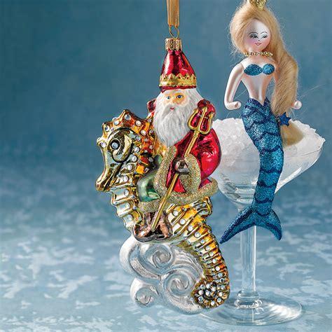 santa on seahorse christmas ornament gump s