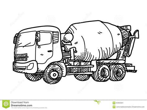doodle truck free cement truck doodle stock vector image 62955561
