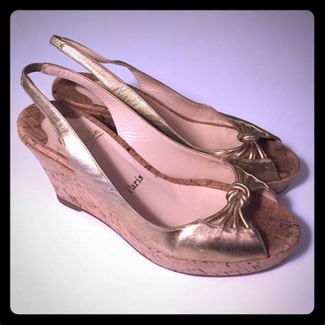 Wedges Selop Cv 05 Gold christian louboutin sale christian louboutin gold sling wedges 9 5 from nadine suggested user