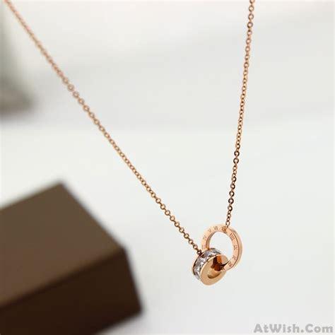 Ring Pendant Chain Necklace fashion circular oval ring rhinestone pendant chain