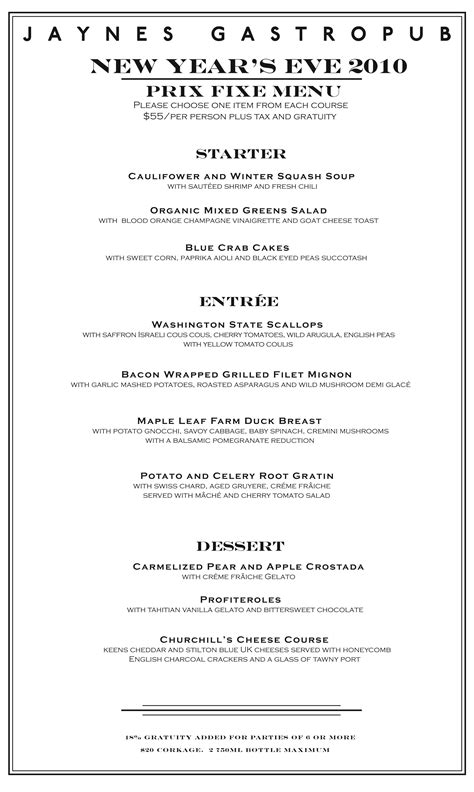 new year dinner menu 30th december 2010