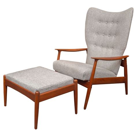 armchair and ottoman danish wingback armchair and ottoman for sale at 1stdibs