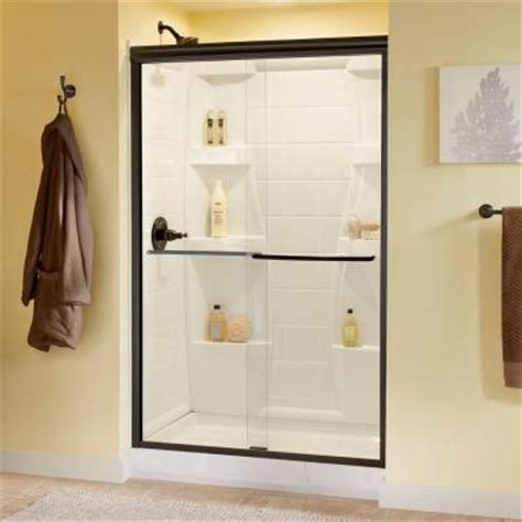 Delta Simplicity 47 3 8 In X 70 In Bypass Sliding Shower Rubbed Bronze Sliding Shower Door